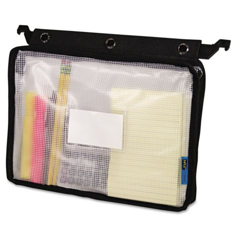 "Advantus Expanding Zipper Pouch, 13"" x 9 1/4"", Clear/Black"