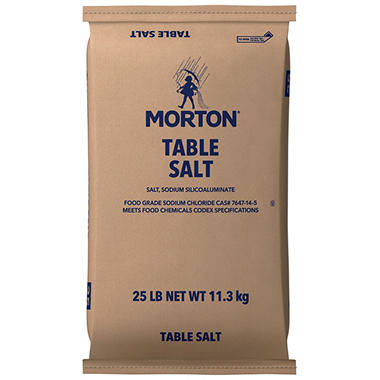 Morton® Plain Table Salt - 25 lb. bag