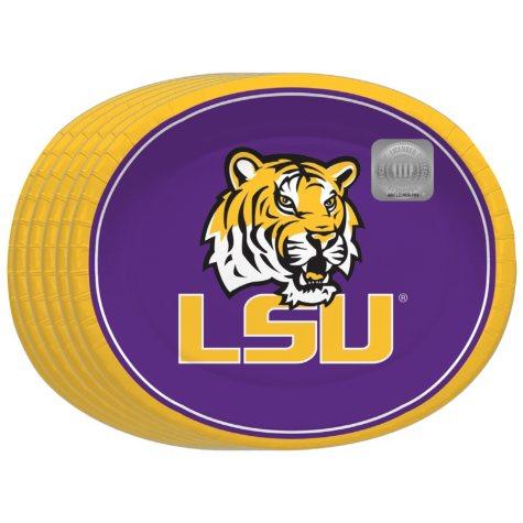 "Offline LSU Tigers Oval Platters - 10"" x 12"" - 50 ct."
