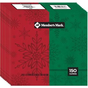 Member's Mark Holiday Snowflake Dinner Napkins - 150 ct.