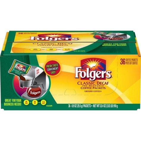 Folgers Decaf Classic Roast Coffee Fraction Pack (0.9 oz., 36 ct.)
