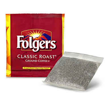 Folgers 4 Cup Hotel Classic Roast Coffee, Filter Packs (200 ct.)