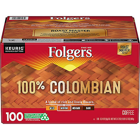 Folgers 100% Colombian Medium Roast Coffee K-Cups (100 ct.)