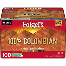 Folgers 100% Colombian Medium Dark Roast Coffee K-Cups (100 ct.)