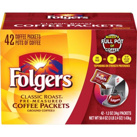 Folgers Classic Roast Ground Coffee Packets (1.2 oz., 42 ct.)