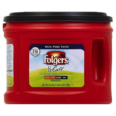 Folgers 1/2 Caff Medium Roast Ground Coffee (25.4 oz.)
