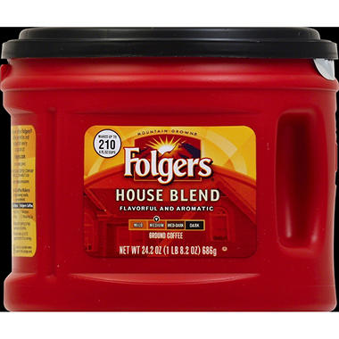 Folgers House Blend Medium Roast Ground Coffee (24.2 oz. canister)