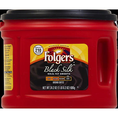 Folgers Black Silk Dark Roast Ground Coffee (24.2 oz. canister)