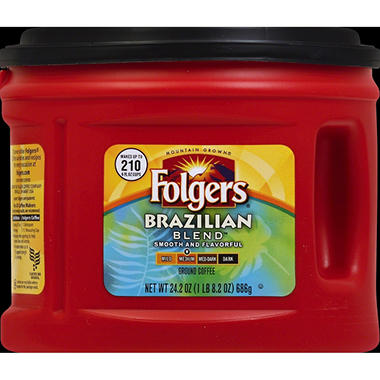 Folgers Brazilian Blend Medium Roast Ground Coffee (24.2 oz. canister)