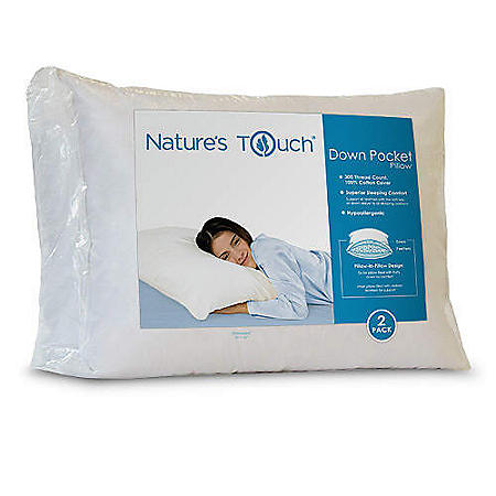 Natures Touch® Down Pocket Standard Pillow - 2pk