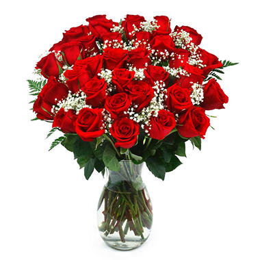 Classic Red Rose Bouquet, 36 Stems (Choose With Or Without Vase)   Samu0027s  Club