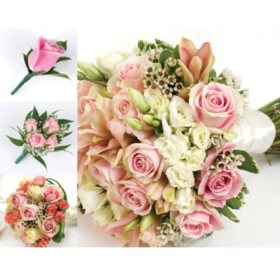 Bulk wedding flowers sams club wedding collection pink 17 pc mightylinksfo