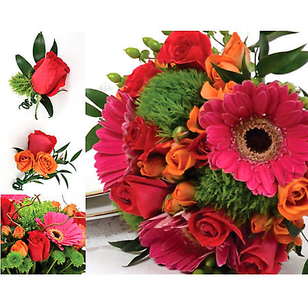 Wedding Collection Hot Pink, Green, and Orange (17 pieces)