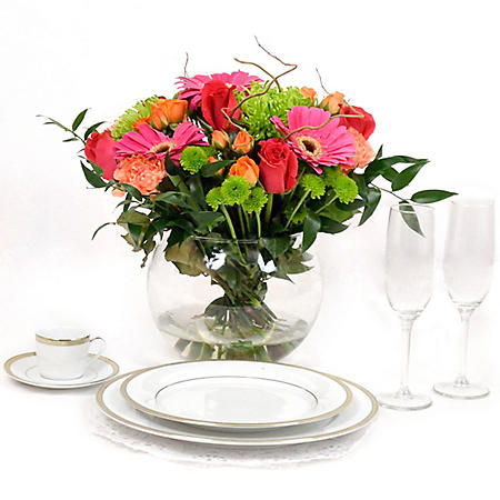 Wedding Collection Hot Pink, Green, and Orange, Centerpieces (6 pieces)