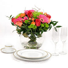Centerpiece - Hot Pink/Green/Orange - 6 pc.