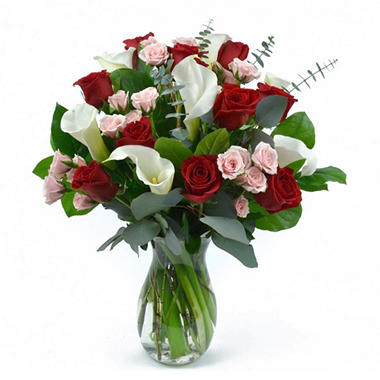 Image result for calla lily and roses arrangements