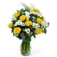 VARIANTED Yellow Rose & Calla Lily Bouquet