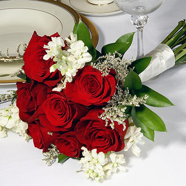 Wedding Collection Red White Bridesmaid Bouquets 3 Pc