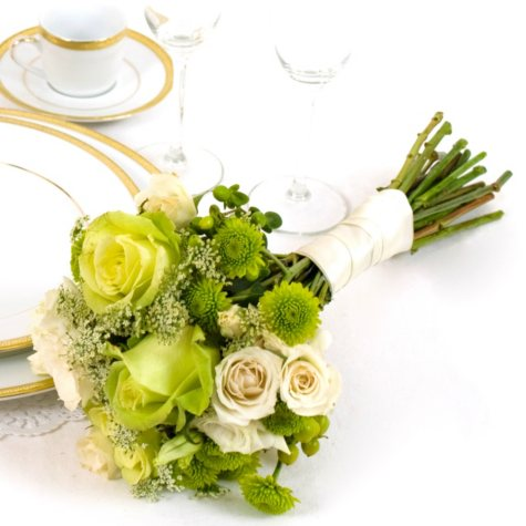Wedding Collection - Green & White - Bridesmaid Bouquets - 3pc