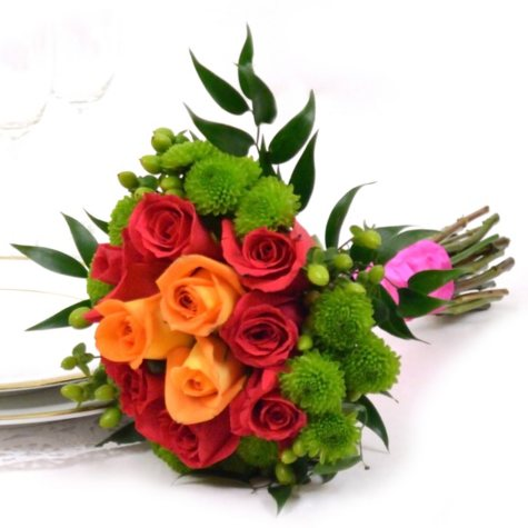 Wedding Collection - Hot Pink, Green & Orange - Bridesmaid Bouquets - 2pc