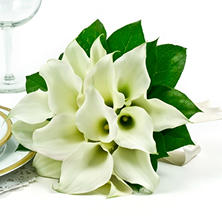 Wedding Collection - White Mini Calla  - Bridesmaid Bouquets - 3pc