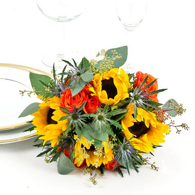 Sunflower Wedding Collection  - Fall -  Bridemaids Bouquets - 3 pc.