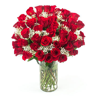 "hopelessly in love"" red rose bouquet (50 stems) - sam's club"