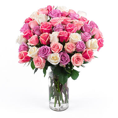 "perfect in pink"" rose bouquet (50 stems) - sam's club"