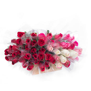 Individually Sleeved Roses, Red and Pink (choose 80 or 150 stems)