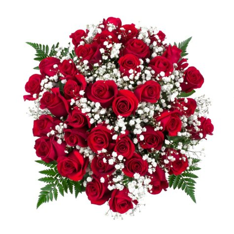 Classic Red Rose Bouquet, 36 Stems (No Vase)