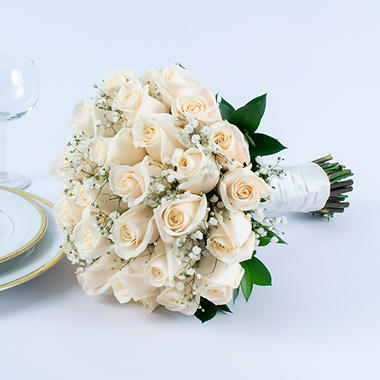 Wedding Collection White Rose One Bridal Bouquet Sam