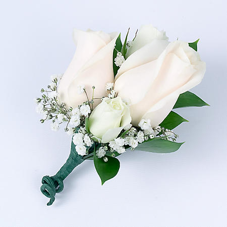 Wedding Collection White Rose, Corsage and Boutonniere (Choose 12 or 24 pieces)