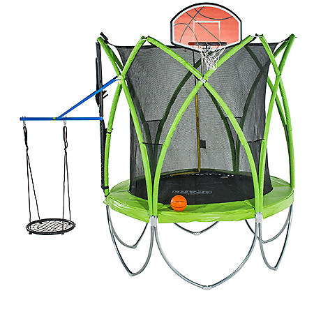 Spark 10' Trampoline with Basketball Hoop, Ball and Web Swing