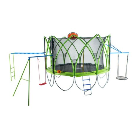 Spark 14' Trampoline with Climbing Bar, Web Swing, Ladder, Basketball Hoop and Swing Set
