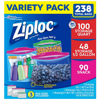 Ziploc bags variety pack 238 ct sams club ziploc bags variety pack 238 ct reheart Image collections