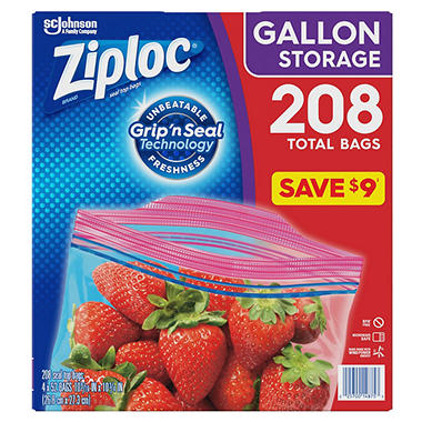 Ziploc Easy Open Tabs Storage Gallon Bags (208 ct.)