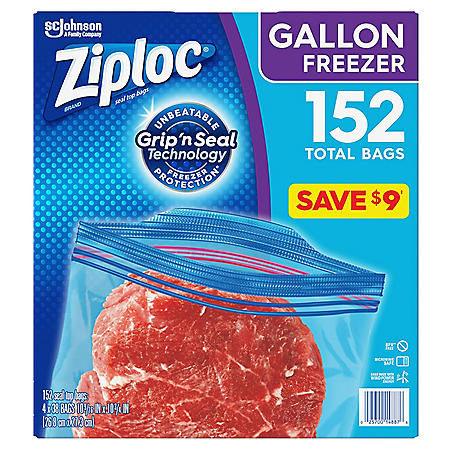 Ziploc Easy Open Tabs Freezer Gallon Bags  (152 ct.)