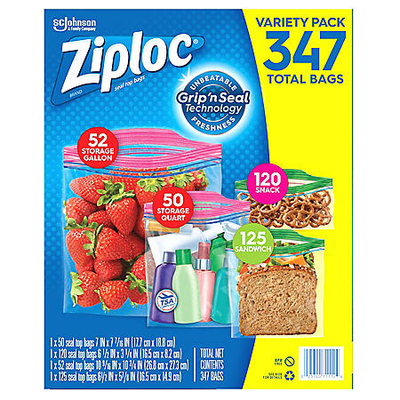Ziploc Bags 52 Gallon, 50 Quart, 120 Snack, 125 Sandwich (347 ct.)