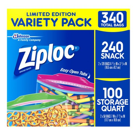 Ziploc Back to School Storage/Quart/Snack Mix Pack Bags