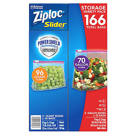 Ziploc Slider Storage Bags 166ct Variety Pack: Quart (96 ct), Gallon (70 ct)