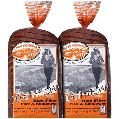 Wheat Montana HealthyLoaf High Fiber Flax & Sunflower Bread - 24 oz. - 2 pk.