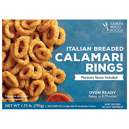 Oven Ready Italian Breaded Calamari Rings With Marinara Sauce