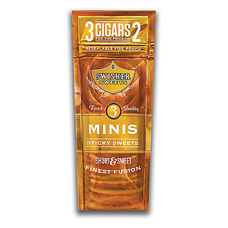 Swisher Sweets Mini Cigarillo, Sticky Sweet, Pre-Priced Buy 2 Get 3 Pk. (3 pk., 15 ct.)