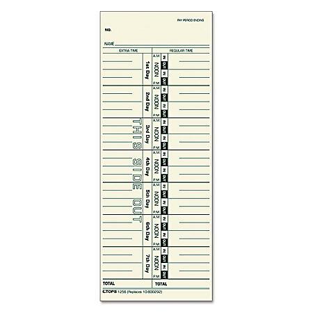 "Tops - Acroprint, Cincinnati, Lathem, Simplex, Stromberg Time Card 3-1/2"" x 9"" - 500/Box"
