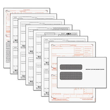 TOPS - Tax Forms/W-2 Tax Forms Kit with 24 Forms, 24 Envelopes -  1 Form W-3