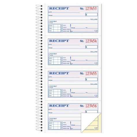 TOPS - Money/Rent Receipt Spiral Book, 2-3/4 x 4 3/4, 2-Part Carbonless, 200 Sets per Book