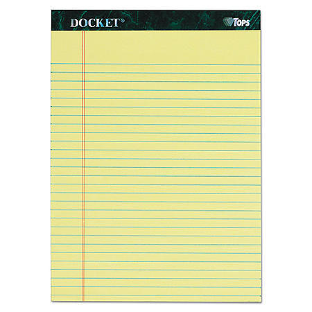 TOPS - Docket Writing Tablet, 8 1/2 x 11 3/4, Legal Rule, Canary, 50 Sheets -  6/Pack