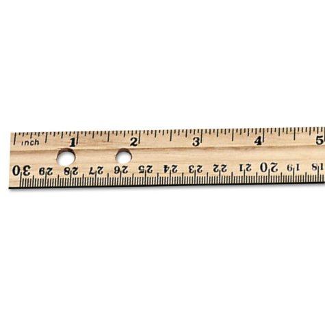 "Charles Leonard Economical Beveled Wood Ruler w/Single Metal Edge, 12"", Natural, 36 Pack"