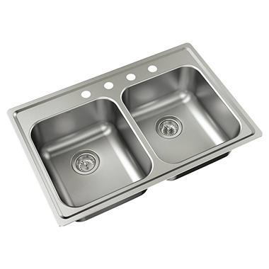 Bon Moen Mather Stainless Steel Equal Double Bowl Sink (Drain Assemblies  Included)