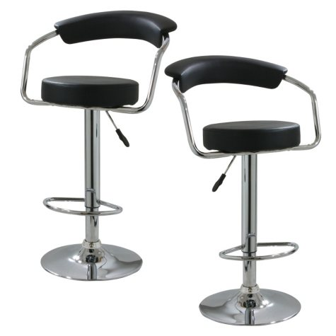 AmeriHome Classic Elegant Adjustable-Height Bar Stool (Set of 2)